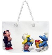Smurf Figurines Weekender Tote Bag by Amir Paz