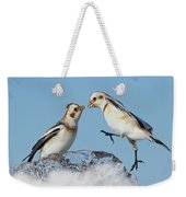 Snow Buntings And Ice Weekender Tote Bag