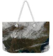 Snow Cover Stretching From Northeastern Weekender Tote Bag by Stocktrek Images