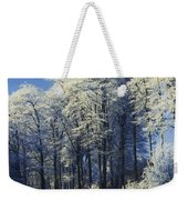 Snow Covered Trees In A Forest, County Weekender Tote Bag