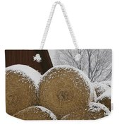 Snow Dusts Rolls Of Hay Weekender Tote Bag