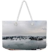 snow in port mahon - A very rare image of a mediterranean villa sided to sea covered of white Weekender Tote Bag