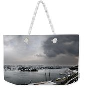snow in port mahon - A very rare image of a mediterranean villa sided to sea covered of snow Weekender Tote Bag