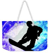 Snowboarder In Whiteout Weekender Tote Bag