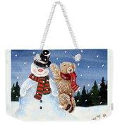 Snowman In Top Hat Weekender Tote Bag by Gordon Lavender