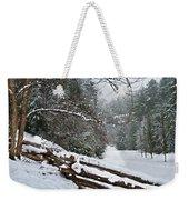 Snowy Fence Weekender Tote Bag