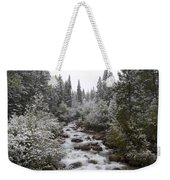 Snowy Foliage Along Stream In Autumn Weekender Tote Bag