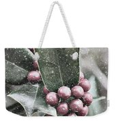 Snowy Holly Christmas Card Weekender Tote Bag