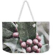 Snowy Holly Weekender Tote Bag