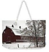 Snowy Red Barn Weekender Tote Bag