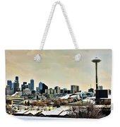 Snowy Seattle Weekender Tote Bag