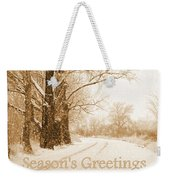 Soft Sepia Season's Greetings Card Weekender Tote Bag by Carol Groenen