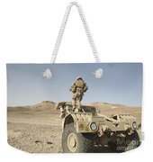 Soldier Climbs A Damaged Husky Tactical Weekender Tote Bag by Stocktrek Images
