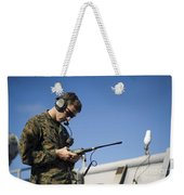 Soldier Conducts A Communications Check Weekender Tote Bag