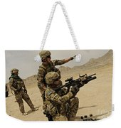 Soldier Directing A Fellow Soldier Weekender Tote Bag
