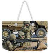 Soldier Firing A M240b Machine Gun Weekender Tote Bag