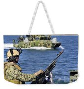 Soldier Mans A M240g Machine Gun While Weekender Tote Bag