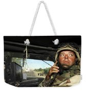 Soldier Monitors The Progress Of A 67 Weekender Tote Bag