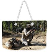 Soldier Provides Security To A Casualty Weekender Tote Bag