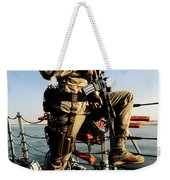 Soldier Stands Watch Aboard Uss Momsen Weekender Tote Bag