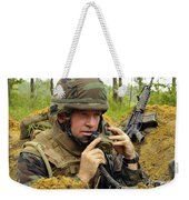 Soldier Using A Ta-1 Sound Powered Weekender Tote Bag