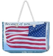 Soldier Veteran Thank You Weekender Tote Bag