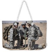 Soldiers Discuss A Strategic Plane Weekender Tote Bag
