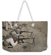Soldiers Fire A Russian Rpk Kalashnikov Weekender Tote Bag