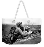 Soldiers Locate Enemy Position On A Map Weekender Tote Bag