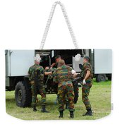 Soldiers Of A Belgian Infantry Unit Weekender Tote Bag