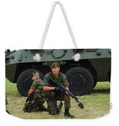 Soldiers Of An Infantry Unit Weekender Tote Bag by Luc De Jaeger