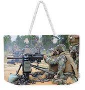 Soldiers Operate A Mk-19 Grenade Weekender Tote Bag by Stocktrek Images