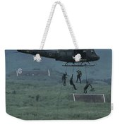 Soldiers Rappel From A Helicopter Weekender Tote Bag