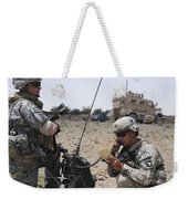 Soldiers Setting Up A Satellite Weekender Tote Bag