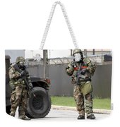 Soldiers Stand Guard At An Intersection Weekender Tote Bag