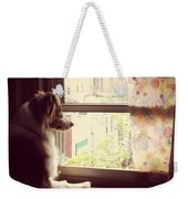 Somewhere In The Distance...a Puppy Weekender Tote Bag by Katie Cupcakes