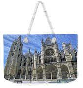 South Facade Of Leon White Gothic Weekender Tote Bag