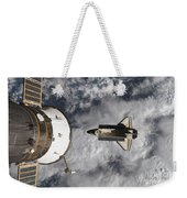 Space Shuttle Atlantis And The Docked Weekender Tote Bag