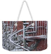 Spiral Staircase With Snow And Cooper's Hawk Weekender Tote Bag