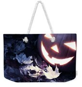 Spooky Jack-o-lantern On Fallen Leaves Weekender Tote Bag