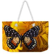 Spotted Butterfly On Yellow Mums Weekender Tote Bag