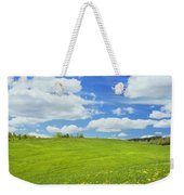 Spring Farm Landscape With Blue Sky In Maine Weekender Tote Bag