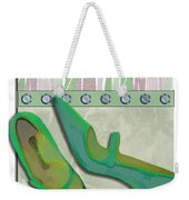 Spring Green Stripes And Rivets Weekender Tote Bag