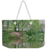 Spring Reflections Of Manhattan In Central Park Weekender Tote Bag