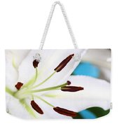 Square Lily On Blue Weekender Tote Bag