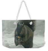 Squirrel In The Snow Weekender Tote Bag