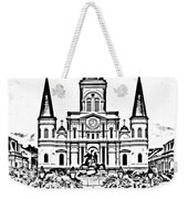 St Louis Cathedral On Jackson Square In The French Quarter New Orleans Photocopy Digital Art Weekender Tote Bag