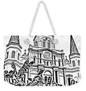 St Louis Cathedral Rising Above Palms Jackson Square New Orleans Photocopy Digital Art Weekender Tote Bag by Shawn O'Brien