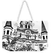 St Louis Cathedral Rising Above Palms Jackson Square New Orleans Stamp Digital Art Weekender Tote Bag