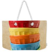 Stack Of Colored Bowls With Ice Cream On Top Weekender Tote Bag by Garry Gay